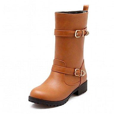 Para Brown Tobillo Zapatos El Redondo amp m Hebilla De Heart Semicuero  Botines Invierno Negro Robusto Otoño Tacón Moda Dedo Mujer Hasta Botas  Casual ... 38c14aee63c