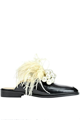 POKEMAOKE Women's MCGLCAB03051E Black Leather Loafers cR7dnu