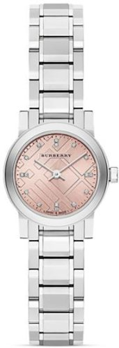 Burberry Diamond Pink Dial Stainless Steel Ladies Watch BU9223
