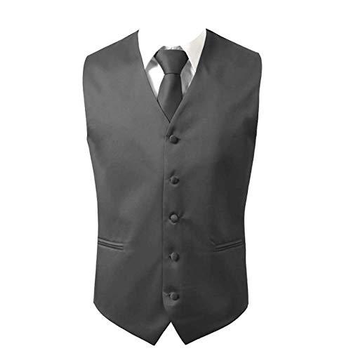 Brand Q 3pc Men's Dress Vest NeckTie Pocket Square Set for Suit or Tuxedo (2XL (Chest 48), Charcoal) ()