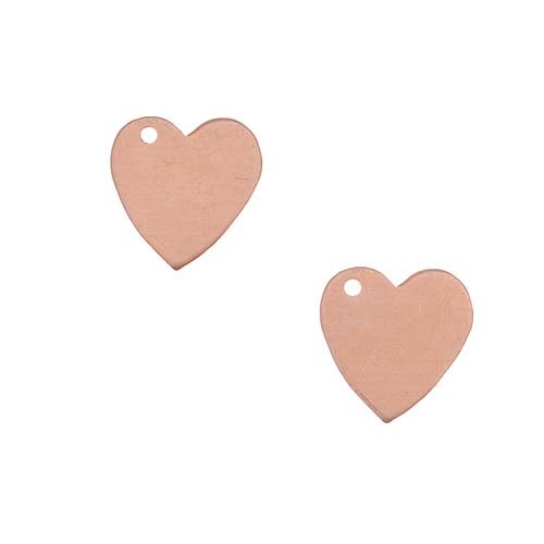Beadaholique Solid Copper Stamping Blank Heart Charms Jewelry Tags 10mm (2)