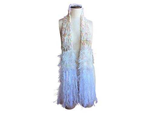 White Rainbow Fringe Scarf with Pastel Colors
