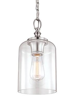"Feiss P1310BS Hounslow Glass Pendant Lighting, Satin Nickel, 1-Light (7""Dia x 13""H) 60watts"