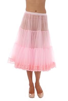 Malco Modes Tea-Length Chiffon Crinoline Petticoat Underskirt Full Slip w/ Lace