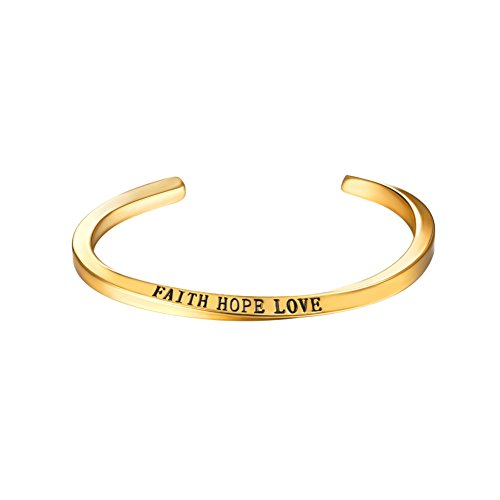 U7 FAITH HOPE LOVE Engraved Bangle Inspirtional Jewelry 18K Gold Plated Plated Twisted Cuff Bracelet by U7 (Image #8)