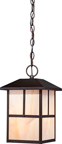 1 Light Honey Pendant - Nuvo Lighting Nuvo Lighting 60/5674 Tanner Hanging 1 Light Lantern 100 Watt A19 max Outdoor Pendant Porch and Patio Lighting with Honey Stained Glass, Claret Bronze