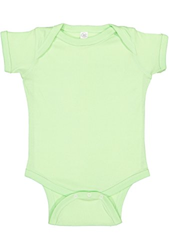 Rabbit Skins Infant 100% Cotton Baby Rib Lap Shoulder Short Sleeve Bodysuit (Mint, 18 Months)