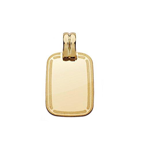 Pendentif 20mm 18k cadre de plaque d'or. [AA0535GR] - personnalisable - ENREGISTREMENT inclus dans le prix
