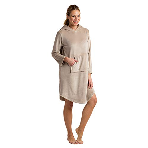 Softies Women's Hooded Snuggle Lounger S/M Oatmeal