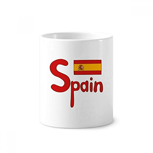 Spain National Flag Red Pattern Toothbrush Pen Holder Mug White Ceramic Cup 12oz by DIYthinker