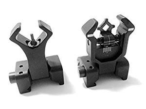 AAO Ar Tactical Flip up Front and Rear Iron Sights Set for Picatinny Rails (Tactical Iron Sights)