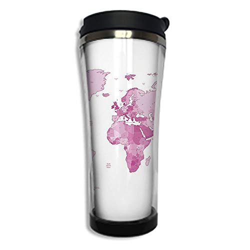 Stainless Steel Insulated Coffee Travel Mug,Spill Proof Flip Lid Insulated Coffee cup Keeps Hot or Cold 14.2oz(420 ml)Customizable printing byLight Pink,Cute World Map Continents Island Land Pacific ()