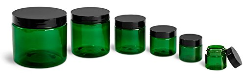 8 Oz. Green Plastic Straight Sided Jars with Black Smooth Plastic Lined Caps (24 - Jar Sided Green Straight