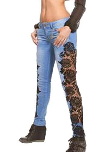 Zinmuwa Femmes Jeans Dentelle Creux Moyen Taille Skinny Crayon Pantalon Pantalon Blueblack
