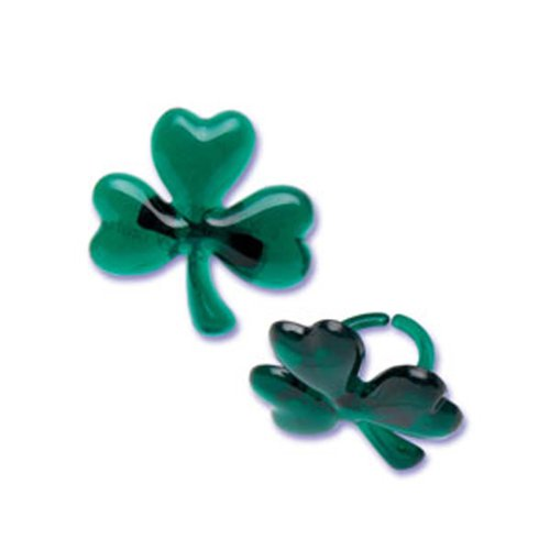 Dress My Cupcake DMC41S-46 12-Pack Shamrock Glitter Ring Decorative Cake Topper, St. Patrick's Day, Green