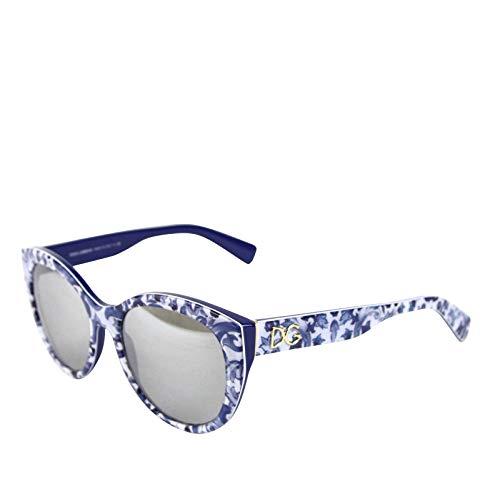 Dolce & Gabbana Women's Flowers Print White/Blue Plastic Cat Eye Sunglasses DG 4217 ()