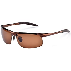 MOTELAN Men's Polarized Sunglasses for Driving Fishing Golf Metal Glasses UV400 Brown
