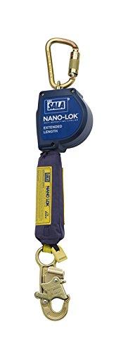 3M DBI-SALA Nano-Lok Extended 3101582 Fall Arrest Safety Clip, 11' Extended Length, Single Leg, Swiveling Steel Carabiner and Steel Snap Hook End