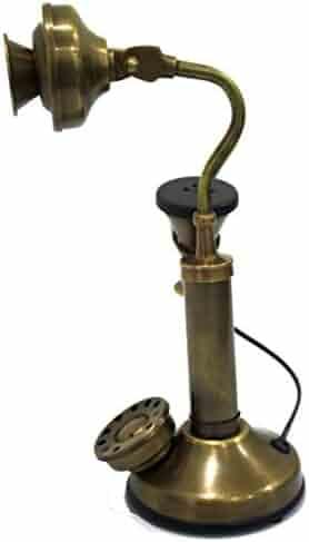 Brass Antique Marine Home Decorative Candlestick Telephone Marine Handmade Nautical Authentic Article - Non Functional