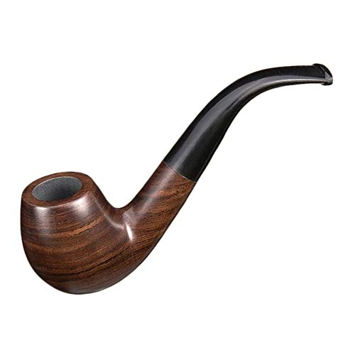 pe Curved Tobacco Pipe Filter Cigarette Holder Men's Solid Wood Pipe Smoking (Color : B) ()