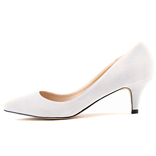 (SAMSAY Women's Slender Kitten Heels Pointed Toe Pumps Court Shoes White Velvet)