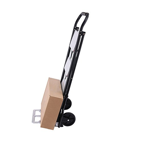 Ladder Cart - 2 In 1 3-Step Ladder & Hand Cart Convertible Folding Hand Truck Dolly with Two Wheels 330 lbs Capacity (US Stock)