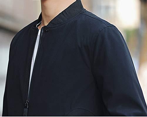 Chaqueta Bomber Estilo Casual Fit Algodón Jacket Ligero Basic Negro De para Hombre Slim Abrigo Deportiva q7Rqxwrt