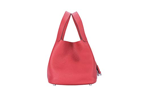 LUCKYSGY Women's Tote Bag Genuine Togo Leather Bucket Handbag Padlock Purse for Lady (Red)
