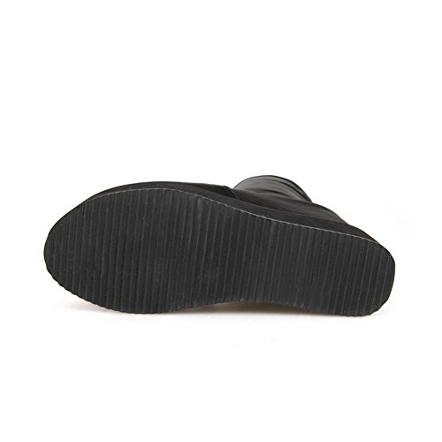 Materials The Heels High Closed Zipper Toe Women's Above Knee Allhqfashion Boots Black Blend Round 0qxABgwwf