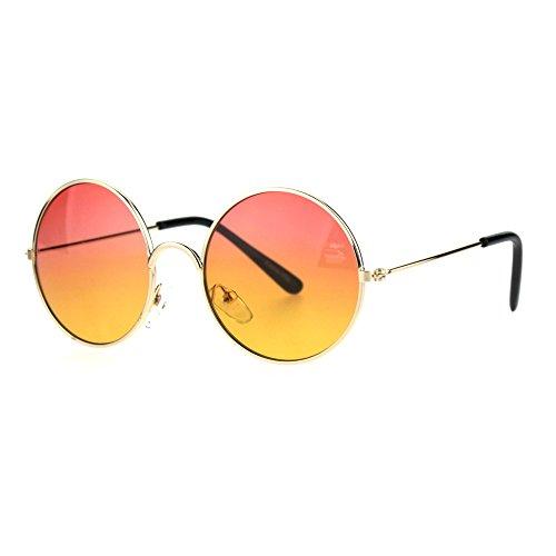 (Kids Child Size Hippie Round Circle Lens Tie Dye Gradient Metal Sunglasses Red)