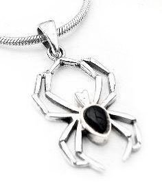 Amazon simulated black onyx widow sterling silver spider simulated black onyx widow sterling silver spider pendant charm aloadofball Image collections