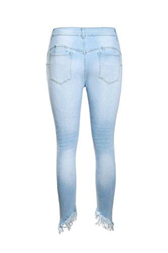 Jeans Buco Nappe Le Pantaloni Donne Lightblue Vita Si Alta Strappato wngTOTpPB