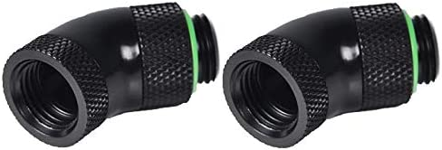 Black 2 Pack Barrow G1//4 45 Degree Dual Rotary Adapter Fitting