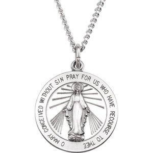 25mm Médaille Miraculeuse en argent sterling avec chaîne gourmette 61cm