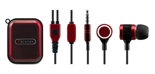 Sentry HM354 Talk-Buds Metal Earbuds with Mic, Red