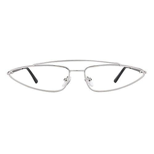 2018 1 Vintage Cat Metal ADEWU Diseñador Lente Mujeres Claro Retro Sunglasses Marco Eye para Plata Small Hombres wHRUnqp