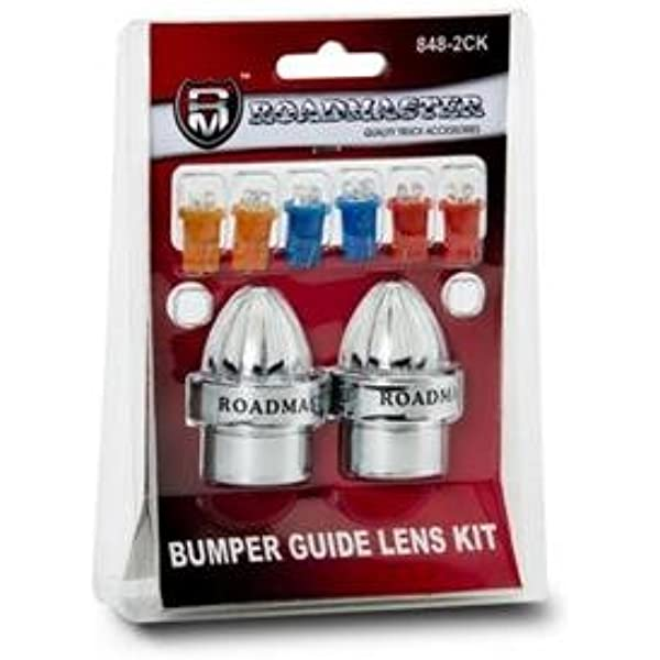 Chrome Steel Pair Flat Clamp Amber Lens 52 Bumper Guide