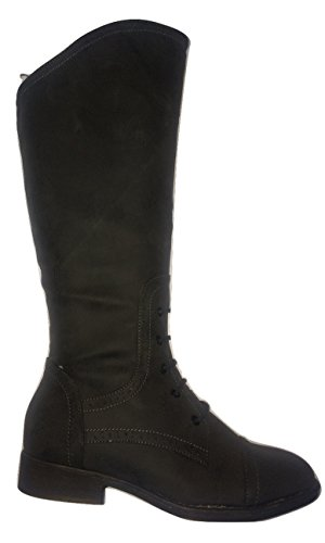 Inside High UK Black Zip Trim Ladies Boot Lace L9311 3 Leg E7zwYq
