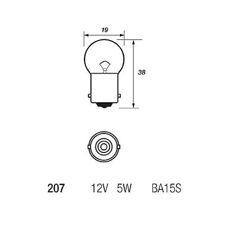 10 x Autolamps 207R Red R5W BA15S Rear Tail Light Car Bulb 207 12v 5w