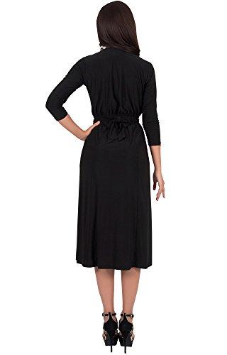 KOH KOH® La Mujer Vestido Midi de cóctel con mangas media Negro
