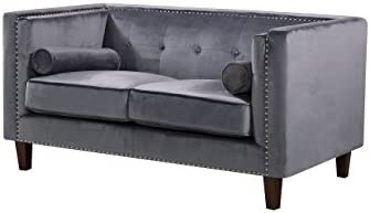 Container Furniture Direct Kittleson Velvet Upholstered Modern Chesterfield Loveseat