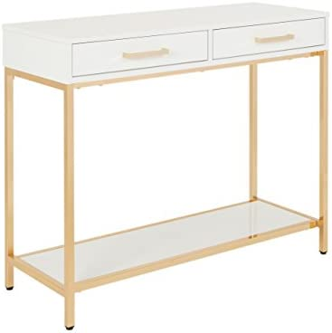 OSP Designs Alios Foyer Table, White Frame with Gold Plated Metal Legs