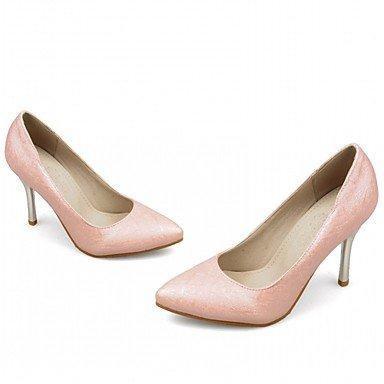 Talones de las mujeres del resorte de la caída Confort de cuero para oficina y del partido de la carrera y el oro blanco rosado púrpura vestido de noche del tacón de aguja Pink