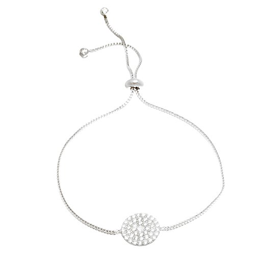 [Silver or Gold Sterling Silver Cubic Zirconia Pave Circle Slider Bracelet (Silver)] (Red Skull Costume Uk)