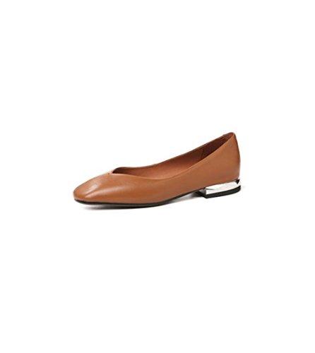 Zapatos de Cabeza de Mujer Solos V Boca Plana con Abuela Blanca Zapatos de Cuero Suave de Gran Tamaño Retro