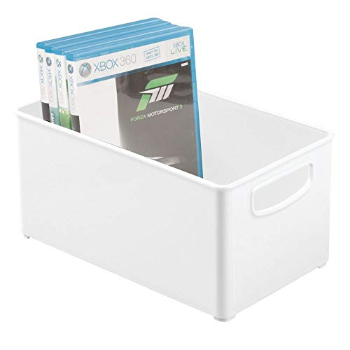 kable Home Storage Organizer Container Bin Box with Handles - for Media Consoles, Closets, Cabinets - Holds DVD's, Blu Ray, Video Games, Gaming Accessories - White ()