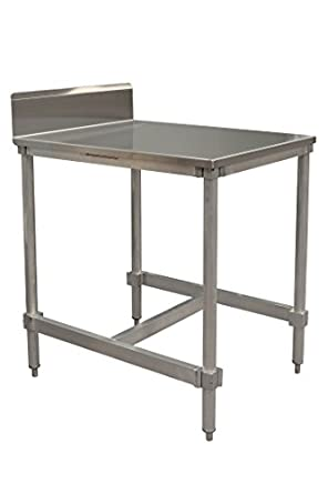 PVIFS AIFT303424 STBS Stainless Steel Top I Frame Work Table With 6u0026quot;  Back