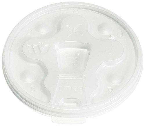 Wincup DT18B Drink-Thru Tear Back Lid for 12 oz to 24 oz Cups, Cube 1.49, White (10 Sleeves of 100 Lids)