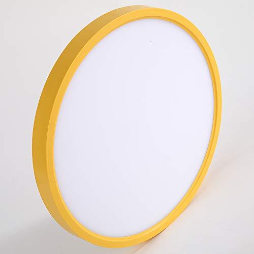 Taloya Yellow Flush Mount Ceiling Light Kids (12 Inch / 20 Watt), Round Flat LED Light Fixture for Child Teen Nursery Bedroom,3 Color Temperatures in One(3000k/4000k/6500k) Round