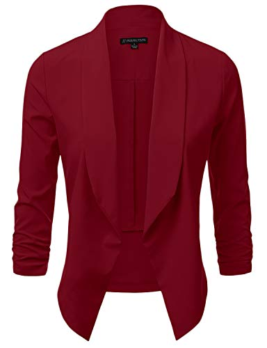 JJ Perfection Women's Lightweight Chiffon Ruched Sleeve Open-Front Blazer Burgundy S